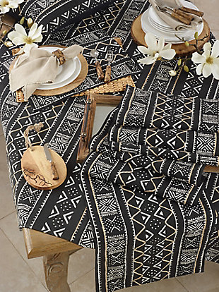 Saro Lifestyle Cotton Mud Cloth 16x108 Table Runner, Black, rollover