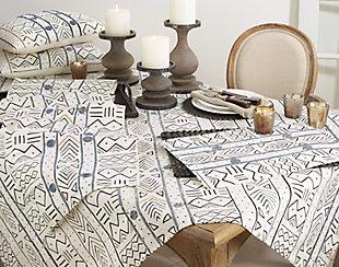 Saro Lifestyle Cotton Mud Cloth 16x108 Table Runner, White, rollover