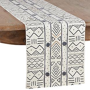 Saro Lifestyle Cotton Mud Cloth 16x108 Table Runner, White, large