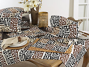 Saro Lifestyle Cotton Kuba Cloth 16x108 Table Runner, Black/Brown, rollover