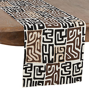Saro Lifestyle Cotton Kuba Cloth 16x108 Table Runner, Black/Brown, large