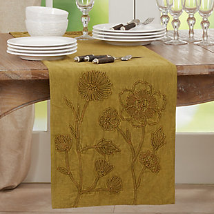 Saro Lifestyle Stone Washed 16x72 Table Runner with Floral Design, , rollover
