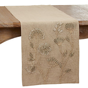 Saro Lifestyle Stone Washed 16x72 Table Runner with Floral Design, , large