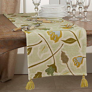 Saro Lifestyle Large Floral Design Embroidered 16x72  Table Runner, , rollover