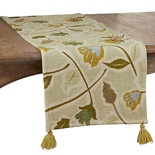 Saro Lifestyle Large Floral Design Embroidered 16x72  Table Runner, , large