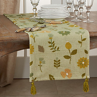 Saro Lifestyle Floral Design Embroidered 16x72 Table Runner, , rollover