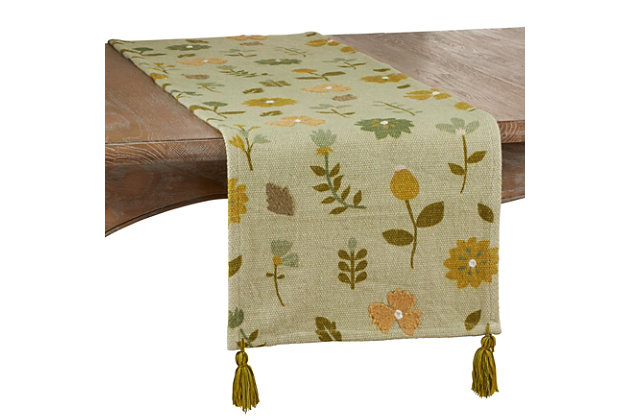 Saro Lifestyle Floral Design Embroidered 16x72 Table Runner, , large