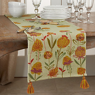 Saro Lifestyle Embroidered Flowers Design 16x72 Table Runner, , rollover