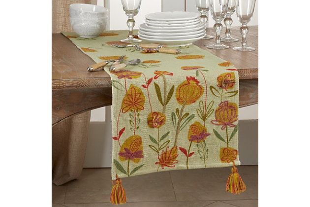 Saro Lifestyle Embroidered Flowers Design 16x72 Table Runner, , large