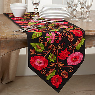 Saro Lifestyle Cotton 16x72 Table Runner with Embroidered Suzani Design, , rollover