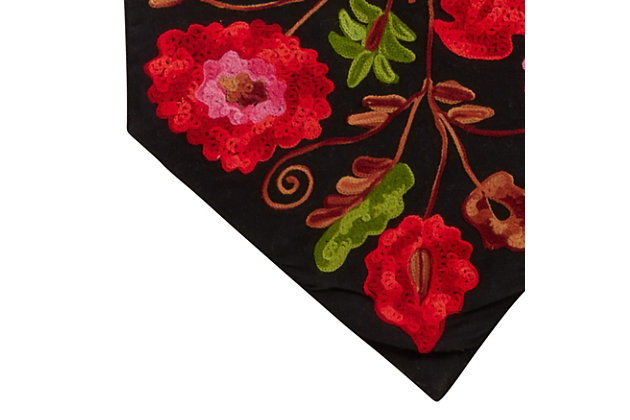Saro Lifestyle Cotton 16x72 Table Runner with Embroidered Suzani Design, , large