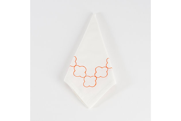 Saro Lifestyle Embroidered Design Napkin (set of 4), Orange, large