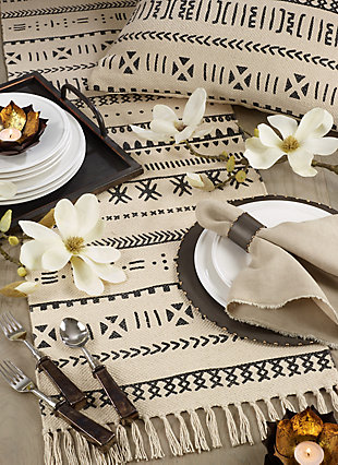 Saro Lifestyle Cotton Mud Cloth 16x72 Table Runner, , rollover