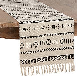 Saro Lifestyle Cotton Mud Cloth 16x72 Table Runner, , large