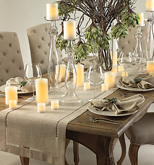 Saro Lifestyle Natural Hemstitched Linen Blend 16x120 Table Runner, Beige, rollover