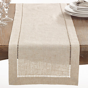 Saro Lifestyle Natural Hemstitched Linen Blend 16x120 Table Runner, Beige, large