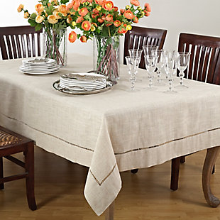 Saro Lifestyle Toscana Linen Blend 90x120 Tablecloth, Beige, rollover