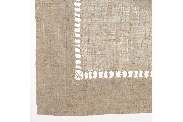 Saro Lifestyle Toscana Linen Blend 90x120 Tablecloth, Beige, large
