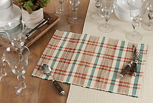 Saro Lifestyle Water Hyacinth Placemat with Plaid Woven Design (Set of 4), Beige, rollover