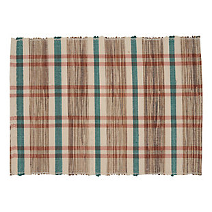 Saro Lifestyle Water Hyacinth Placemat with Plaid Woven Design (Set of 4), Beige, large