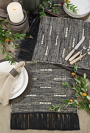 Saro Lifestyle Cotton Placemat with Dashed Stitch Design (Set of 4), , rollover