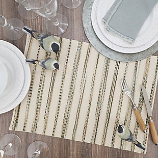 Saro Lifestyle Placemat with Stripe Weave Design (Set of 4), , rollover