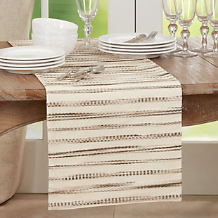 Saro Lifestyle 16x72 Table Runner with Stripe Weave Design, , rollover