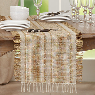 Saro Lifestyle Natural 16x72 Table Runner with Asiatic Grass Design, Beige, rollover