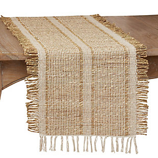 Saro Lifestyle Natural 16x72 Table Runner with Asiatic Grass Design, Beige, large