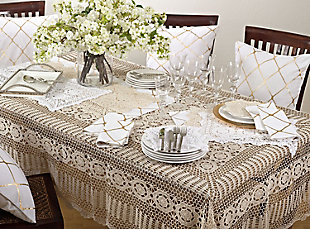 "Saro Lifestyle Handmade Crochet Cotton Lace 30"" Square Table Linens, , rollover"