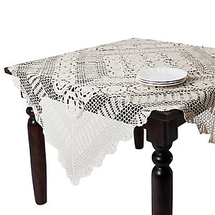 "Saro Lifestyle Handmade Crochet Cotton Lace 30"" Square Table Linens, , large"
