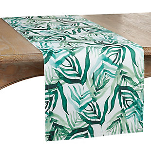 Saro Lifestyle 16x72 Table Runner with Rainforest Design, Green, large
