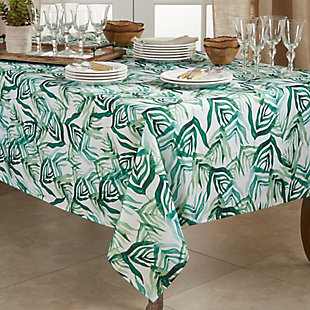 Saro Lifestyle Stylish 50x70 Tablecloth with Rainforest Design, Green, rollover