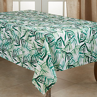 Saro Lifestyle Stylish 50x70 Tablecloth with Rainforest Design, Green, large