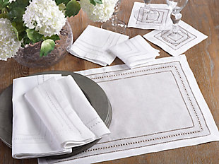 Saro Lifestyle Linen Hemstitch Napkin (Set of 4), White, rollover