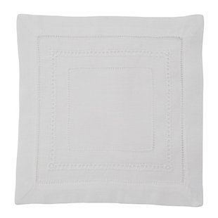 Saro Lifestyle Linen Hemstitch Napkin (Set of 4), White, large