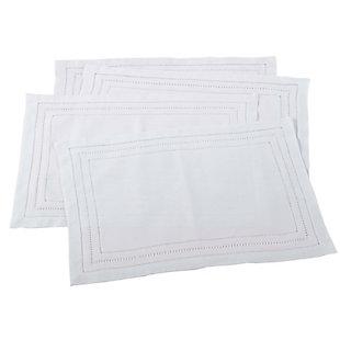 Saro Lifestyle Linen Blend Hemstitch Placemat (Set of 4), , large