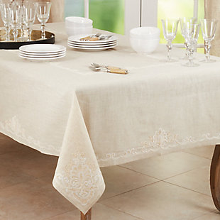 Saro Lifestyle Elegant 67x104 Tablecloth with Embroidered Design, Beige, rollover