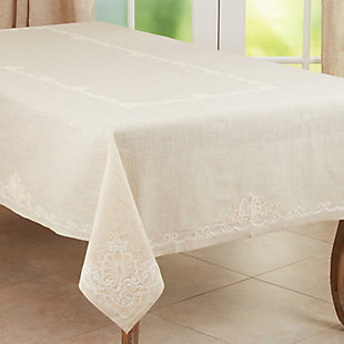Saro Lifestyle Elegant 67x104 Tablecloth with Embroidered Design, Beige, large