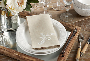 Saro Lifestyle Cloth Table Napkin with Embroidered Design (Set of 4), , rollover