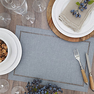Saro Lifestyle Table Placemat with Laser-Cut Hemstitch Design (Set of 4), Gray, rollover