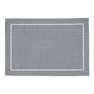 Saro Lifestyle Table Placemat with Laser-Cut Hemstitch Design (Set of 4), Gray, large