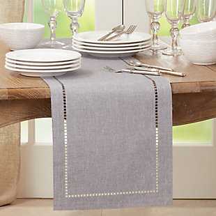Saro Lifestyle 14x108 Table Runner with Laser-Cut Hemstitch Design, Gray, rollover