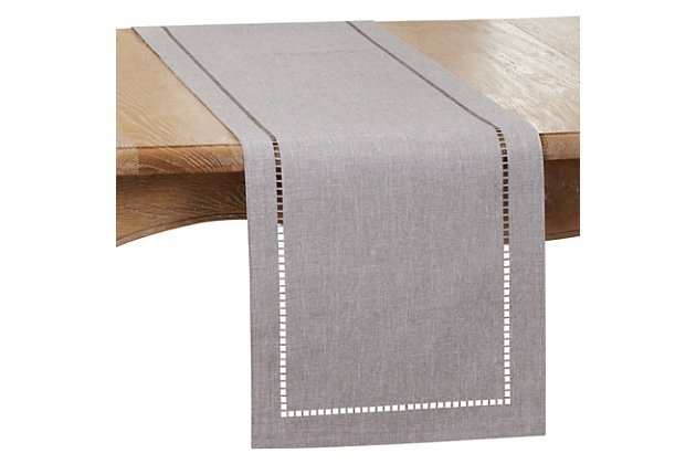 Saro Lifestyle 14x108 Table Runner with Laser-Cut Hemstitch Design, Gray, large