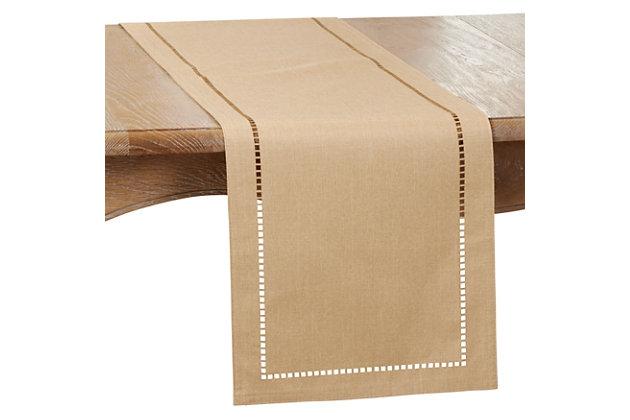 Saro Lifestyle 14x120 Table Runner with Laser-Cut Hemstitch Design, Brown, large