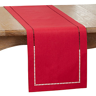 Saro Lifestyle 14x108 Table Runner with Laser-Cut Hemstitch Design, Red, large