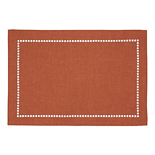 Saro Lifestyle Table Placemat with Laser-Cut Hemstitch Design (Set of 4), Orange, large