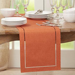 Saro Lifestyle 14x108 Table Runner with Laser-Cut Hemstitch Design, Orange, rollover