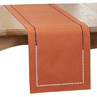 Saro Lifestyle 14x108 Table Runner with Laser-Cut Hemstitch Design, Orange, large