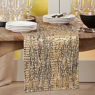 Saro Lifestyle 16x72 Table Runner with Animal Foil Print, , rollover